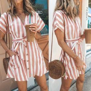 ComingSoon!! Stripe Short Sleeve Casual Dress
